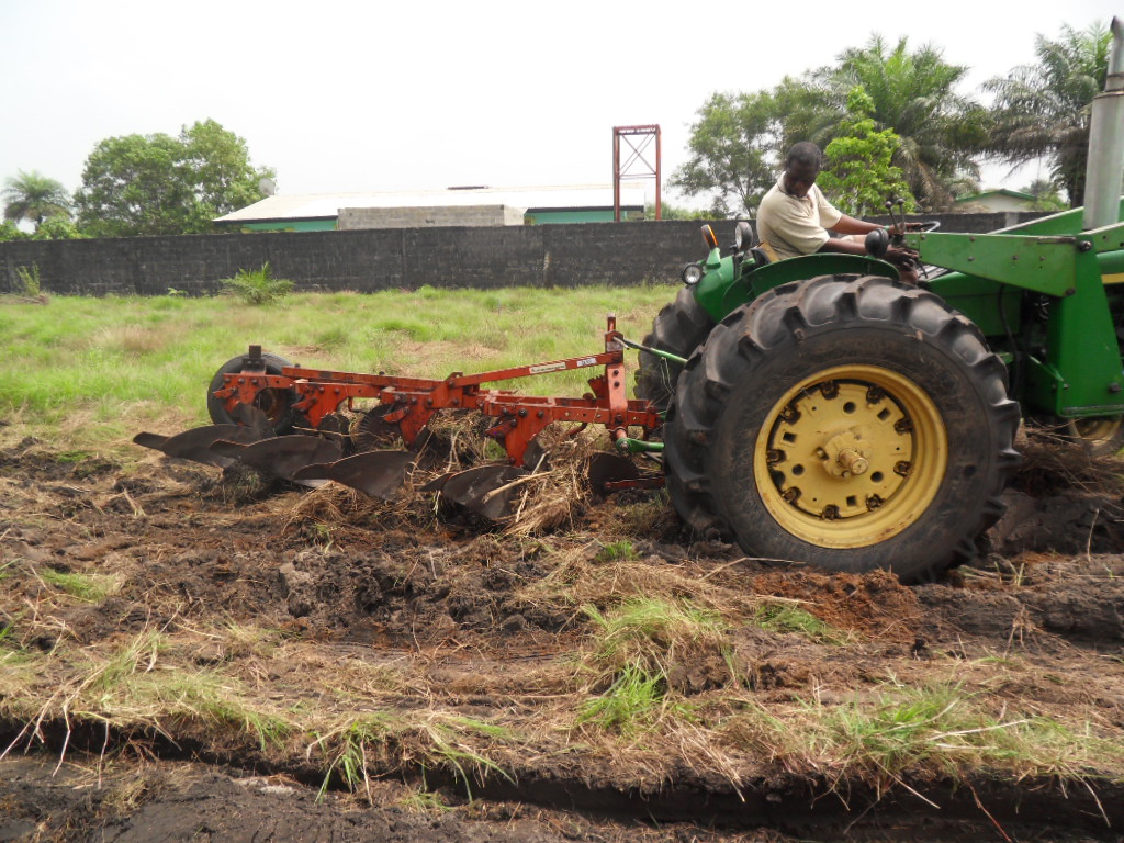 James, on the tractor, ploughing the field.